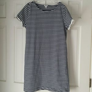 J. Crew navy blue and white stripe dress